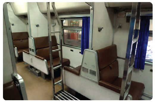 Air-Con Second class train at day, open plan with bays of seats either side of the aisle